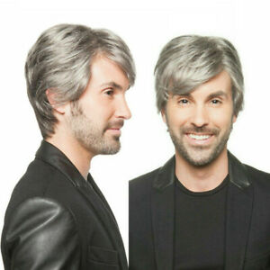 Men Short Gray Wig Heat resistant Synthetic Natural Full Wigs Cosplay Party Wig