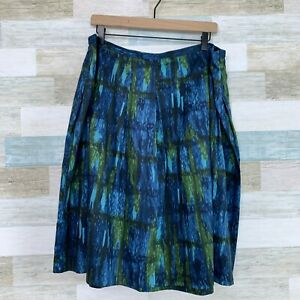 Talbots Watercolor Circle Skirt Blue Green Lightweight Stretch Womens Plus 18W