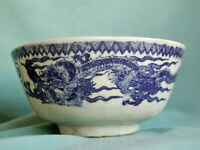 Antique Chinese Blue on White Dragon Bowl 19th Century Early Transferware China