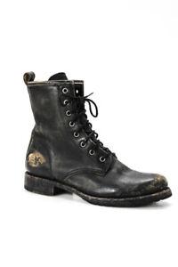 Frye Womens Veronica Rustic Leather Combat Booties Black Size 8