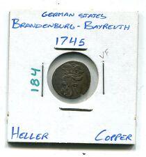 German States : Brandenburg - Bayreuth 1 Heller 1745 VF  (KM 184)