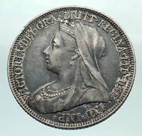 1896 UK Great Britain United Kingdom QUEEN VICTORIA Shilling Silver Coin i80318
