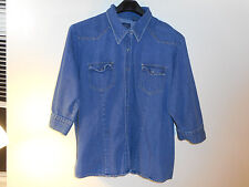 The Blues women western jean jacket denim coat snap 3/4 sleeve studs sz 3X NICE