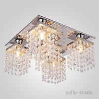 Crystal Chandelier Ceiling Lamp Light Pendant 5 Lights Flush Mount Bulb Include