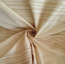 19 Metres Prestigious Quality Stripe Faux Silk Curtain Fabric In Primrose White