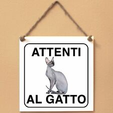 Gatto Peterbald 1 Attenti al gatto Targa gatto cartello ceramic tiles