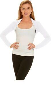 Women's Red Hanger Long Sleeve Open Front Bolero Shrug White XL