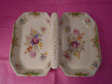 Vintage Porcelain Double Serving Dish with Handle/ Made in Japan