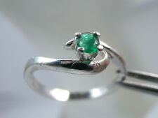 EMERALD - Genuine Green Petite Pinky & May Birthstone .925 Sterling Silver Ring