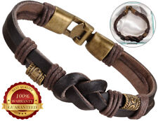 Genuine Surfer Leather Bracelet Mens Wristband Bronze Buckle Braided Rope Brown