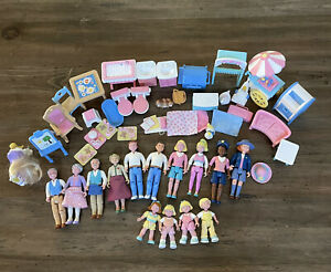 Fisher Price Loving Family Dolls Furniture Accessories Lot Over 40 Pieces Vtg