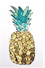 X LARGE SEQUIN PINEAPPLE FRUIT IRON ON PATCH APPLIQUE. Free P & P. UK seller.