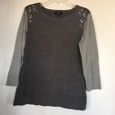 0925cac00c EUC Womens Pullover Sweater Top Dark Light Gray Rhinestoned Beaded Shoulder