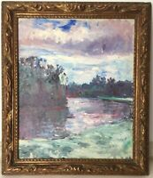Antique Oil painting FRENCH IMPRESSIONIST PAINTING Landscape at the Lake MONET