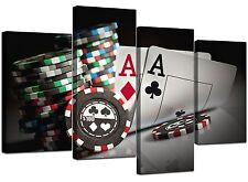 Extra Large Black White Red Poker Canvas Wall Art 130cm Set XL 4048