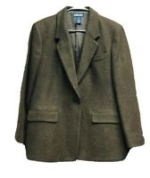 Lands End Womens Suit Jacket Brown Herringbone Flap Pockets Lined Petites L 14