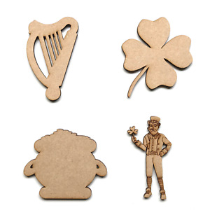 Wooden MDF Irish Harp Leprechaun Pot of Gold Shamrock Shapes Craft Embellishment
