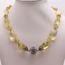 925 Sterling Solid Silver Necklace Lemon Topaz Cut Round,Tumbled   (ADAC)