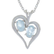 1 Ct Natural Aquamarine Oval Heart Pendant .925 Sterling Silver