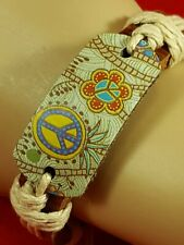 Peace Flower Stylish Bangle Cuff Wrap Bracelets HOT Leather Adjustable Hemp X1