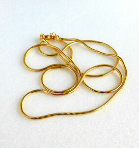 24K Yellow Gold Plated Men Women Standard Length 45cm Snake Rope Chain Necklace