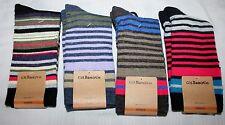 4 PAIR G.H. Bass & Co. Women's Novelty Crew Socks 20% WOOL - STRIPED - 4 COLORS