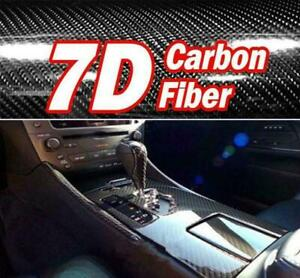50cm x1.53M 7D Gloss Black Carbon Fibre Fiber Vinyl Car Wrap Air Release Film OZ