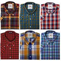 Relco Men's Check Short Sleeve Shirt Grey Yellow Blue Orange Button Down Collar