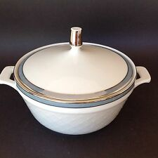 BAVARIA GERMANY JAEGER EMBOSSED WHITE GOLD & GRAY BAND TUREEN WITH LID