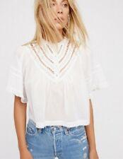 Free People Blouse Lush Life Top Cotton White Lace Crochet Boho Shirt M NWT $108