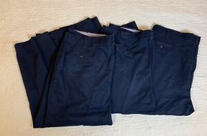 Red Kap Work Pants Men Size 45x28 Navy Blue Slacks Flat Front Lot Uniform Of 3