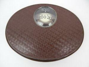 BORG Bathroom Weigh Scale Brown Basket Weave Design Plastic Bubble MCM Retro!