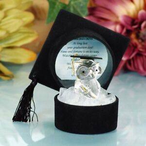 Graduation Crystal Owl In Black Hat with Poem Graduation University Degree Gifts