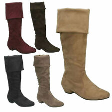 SALE LADIES SPOT ON ZIP UP SUEDETTE LOW HEEL CASUAL KNEE HIGH BOOTS F50202 SIZE
