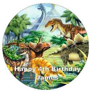 """Dinosaurs Cake Topper Personalised  Edible Wafer Paper 7.5"""""""