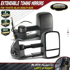 TOP Pair Black Extendable Towing Mirrors for Toyota Hilux 2015/7-2019