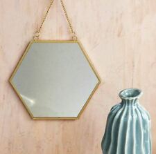 Sass & Belle Touch of Gold Hexagon Mirror with Vintage Chain Hanging
