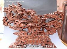 "20"" Chinese Boxwood Wood Hand Carving 2 Two Dragon Loong Beast Ball Shrines"