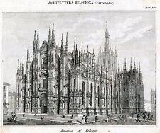 Architettura Religiosa: Duomo di Milano. Incisione su Rame + Passepartout. 1866