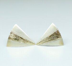 "Vtg Artisan Signed Sterling Silver & 14K Yellow Gold Triangle Post Earrings 3/4"""