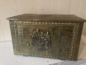 Antique Brass Metal on Wood Kindling Coal Firewood Box Storage Chest Raised Tin