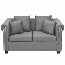 Luxury 2 Seater Fabric Sofa Couch Settee Suite Wooden Padded Pillows Living Room