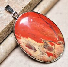 "Bloodstone Jasper Sea Sediment Quartz Natural Gemstone 1.75"" Silver Pendant #34"