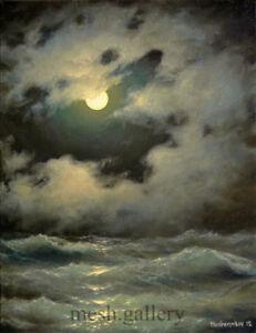 "301- 16""x 20"" GALLERY WRAP CANVAS ART PRINT SEASCAPE OCEAN Moon Stormy Night"