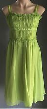 Fab CUE Lime Green Silk Empire Waist Pleat Bodice Dress Size10