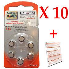 10 plaquettes piles pour appareil auditif RAYOVAC 13