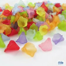 50pcs Lily Flower Bead Cap Craft Beads Frosted Acrylic Mixed 9x9mm Hole 1mm