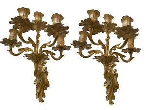 A pair antique French victorian gilded bronze sconces wall candelabra 19th C