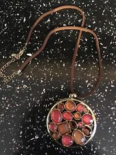 "Pretty Pendant Necklace Circle Colourful Pink Orange Amber Stones 18"" Lace Chain"