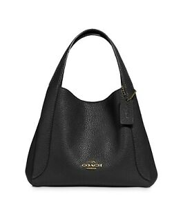 NWT COACH 78800 Hadley 21 Leather Hobo, Black/God